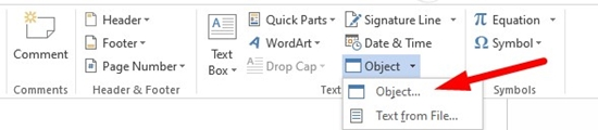 How to insert a PDF into Microsoft Word step 2