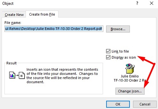 How to insert a PDF into Microsoft Word step 5